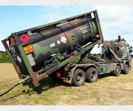 Mobile tank container; field refuelling aviation fuels