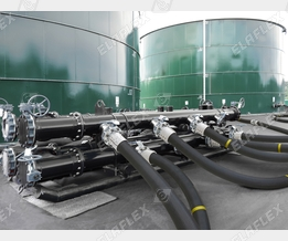 Manifold at petroleum storage terminal
